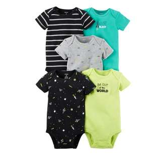 *3M* Brand New Carter's 5 Pack Short Sleeve Bodysuits For Baby Boy