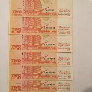 6pc of running  number  old $2 notes 6pcs x6