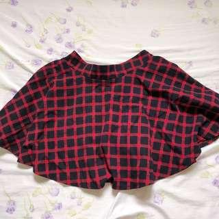 Red Checkered/Tartan Flare Skirt
