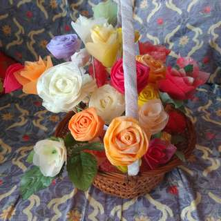 Basket of artificial flowers