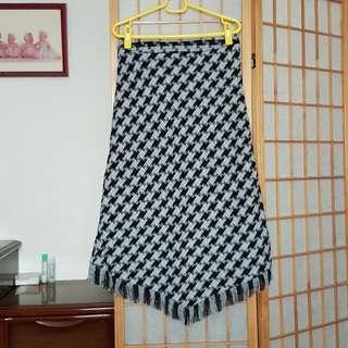 🚚 全新 時尚流蘇黑白格紋長裙