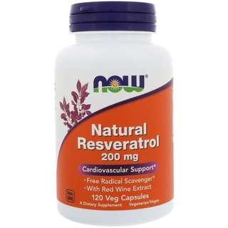 🚚 「家人有吃才代購」Now Foods Natural Resveratrol 白藜蘆醇 200mg 120顆 素食