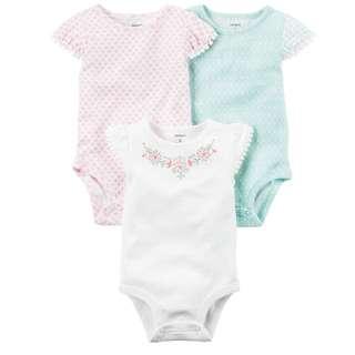 *3M* Brand New Carter's 3-Pack Flutter Sleeve Bodysuits For Baby Girl