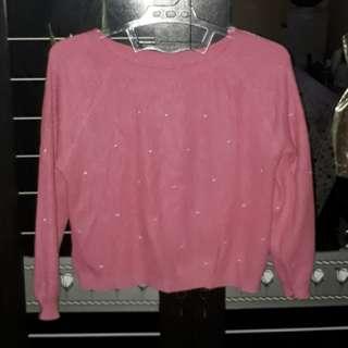 pink crop cardigan