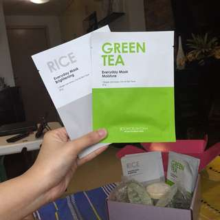 Green Tea & Rice mask sheet bundle