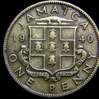 1940年英屬牙買加(British Jamaica))十字波蘿鱷魚徽1便士(Penny)黃銅幣(英皇佐治六世像)