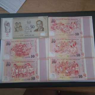 SG50 Commemorative Notes with Brunei