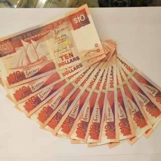 13pcs old sg $10notes  13 x $15