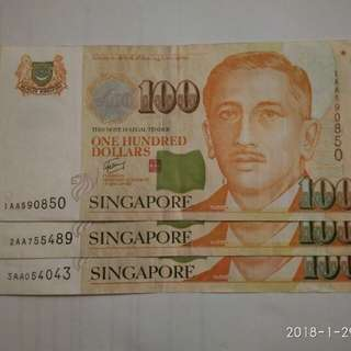 Singapore Note $100 3pcs With AA