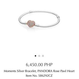 Brand New Auth Pandora Rose Pave Heart Moments Bracelet