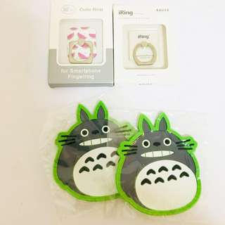 Bundle Deal! Mobile Phone Ring & Totoro Cup Coasters