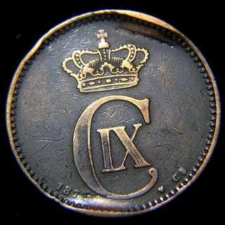 1874年丹麥王國(Kingdom of Denmark))丹皇克里斯蒂安九世徽號海豚麥穗5奧里銅幣