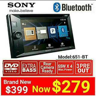"""SONY HEAD UNIT - SONY BLUETOOTH  XAV-W651BT 6.2"""" Touchscreen Display  ▪ DVD/CD/USB/AUX Player ▪ MP3/WMA/AA/WAV Playback with AM/FM Tuner.  Usual Price: $399  Special price: $279 (Brand new in box & sealed)"""