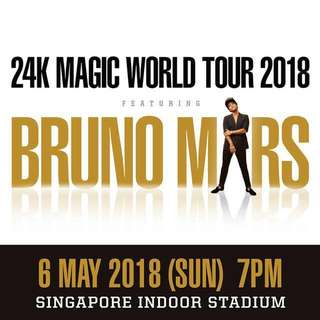 WTS Bruno Mars Ticket 7th May 2018