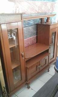 lemari rak tv kayu asli