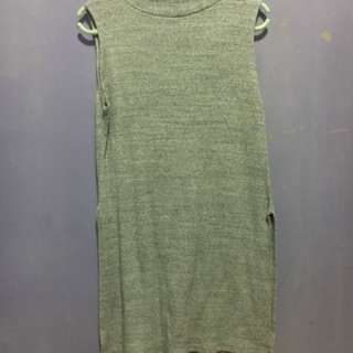 Grey high neck shirt dress