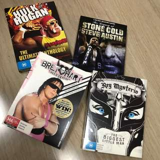 WWE Dvds Hulk Hogan Ultimate Anthology, Stone Cold Steve Austin, Bret Hart Hitman n Rey Mysterio Set of 4