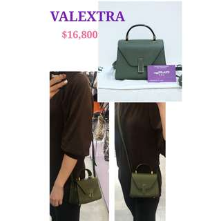 95% New VALEXTRA lside Micro 綠色 牛皮 金扣 手提袋 斜揹袋 側背袋 手袋 Green Calfskin Handbag with Gold Hardware