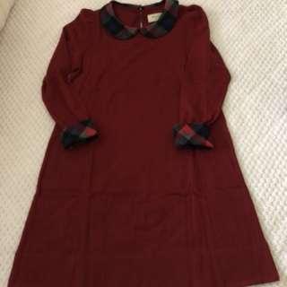 90% New Franche Lippee紅色併格仔連身裙