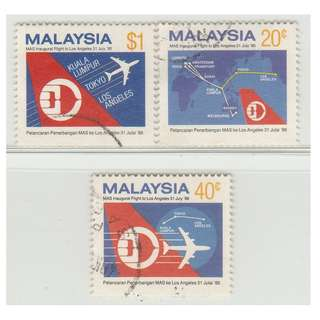 Malaysia 1986 Inaugural Flights of MAS to Los Angeles set of 3V Used SG #355-357 (0278)