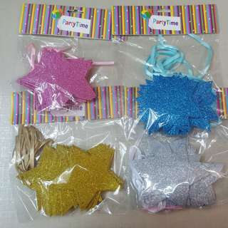 Star Glitter Party Garland (15 Stars)
