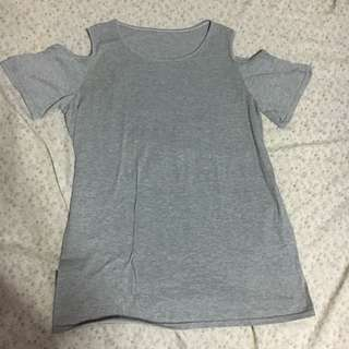 Oversized grey cutout sleeve top