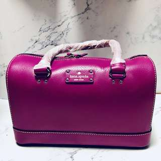 🈸Kate Spade purple pink boston 3 ways bag 紫紅色手挽/ 斜揹/ 側揹袋