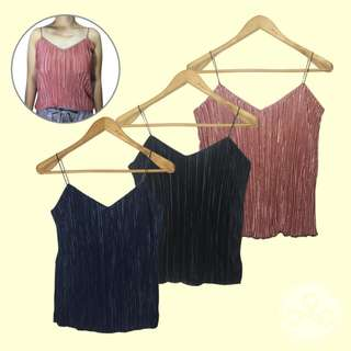 [Bnew] Metallic Pleated Cami String Top