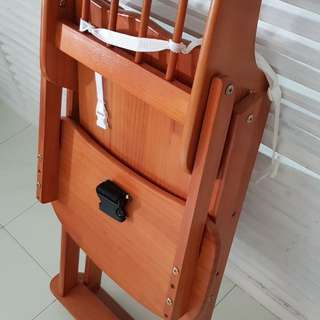 Baby wooden high chair foldable