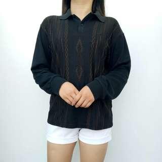 Black Long Sleeved Top w/ Collar