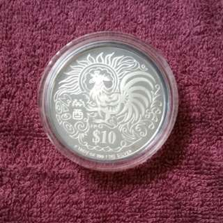 1993 Year of the Rooster $10 Silver Proof Coin
