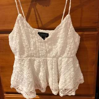 Topshop White Dolly Crochet Top Size UK8