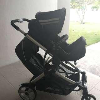 Hauck Duett 2 Tandem Stroller (FREE gift Wooden IKEA baby cot)