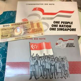 1990 first plastic $50 notes of Singapore with folder