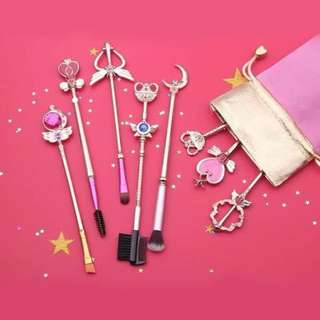 8 Pcs/set Sailor Moon Wand Brushes Scepter Cosmetics Eye Shadow Brush Makeup Tools Kit (Brand New)
