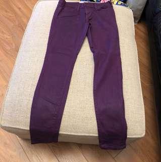 Current Elliot coated purple skinny jeans