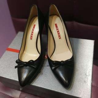 全新 Prada 黑色 高踭鞋 black highheel leather 面交 順豐 可議