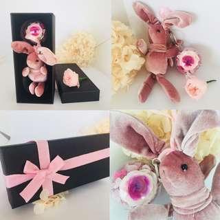 Valentine's Rose | Preserved Rose | Bunny Bag Tag | Key Chain