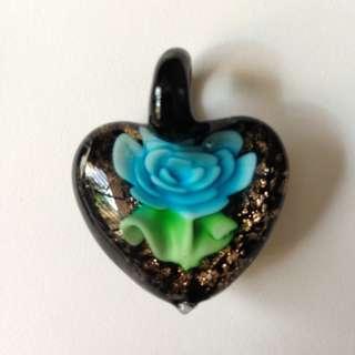 glass pendent light blue flower