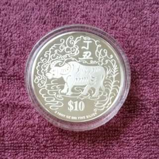 1997 Year of the Ox $10 Silver Proof Coin.
