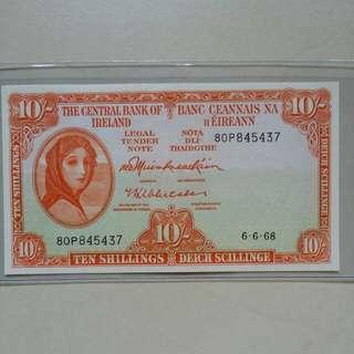 1968 Central Bank of Ireland 10 shillings ** Good Grade**