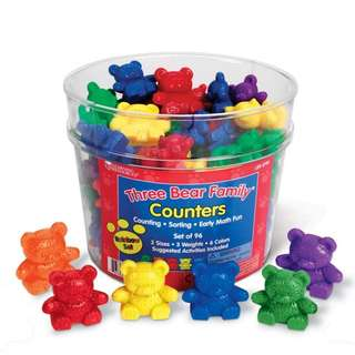 Learning Resources Three Bear Family Counter Set, Rainbow Set of 96
