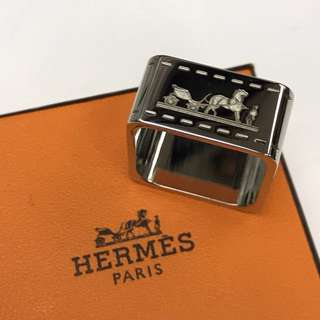 Hermes Silver Scarf Ring