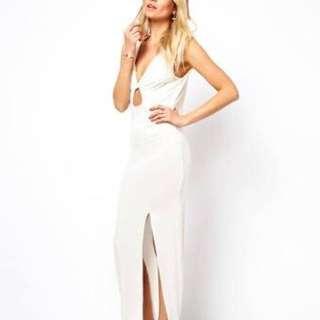 Love White Maxi Dress w Front Twist Size S