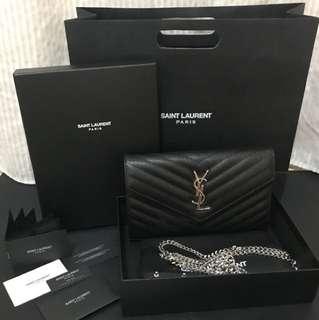 45e0b5e1485e YSL Wallet on Chain Black with Silver Hardware