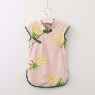 Pineapple embroidered qi pao Cheong sam