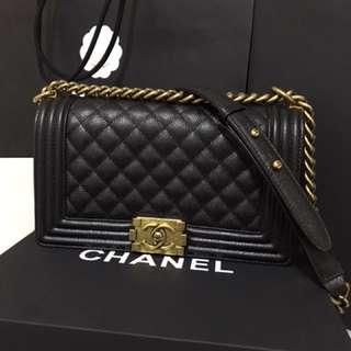 Chanel Le Boy Old Medium in Black Caviar AGHW