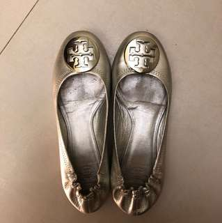 Tory burch sliver leather pumps 70% new 37