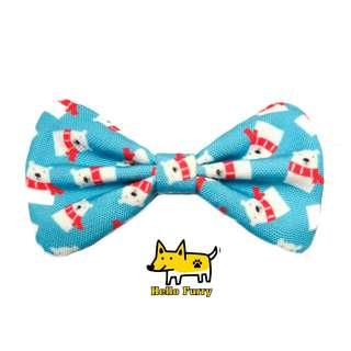 Blue Snow Winter Polar Bear  , Handmade  , Dog Cat Bowties Bow tie , Clothing , Accessories , Pet Collars , Bandana,