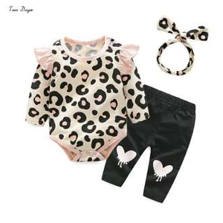 Tem Doger Autumn Baby Clothes Long Sleeve Print Cotton T-shirt + Pants+Headhand 3pcs/set Casual Outfit Baby Girl Clothing Set